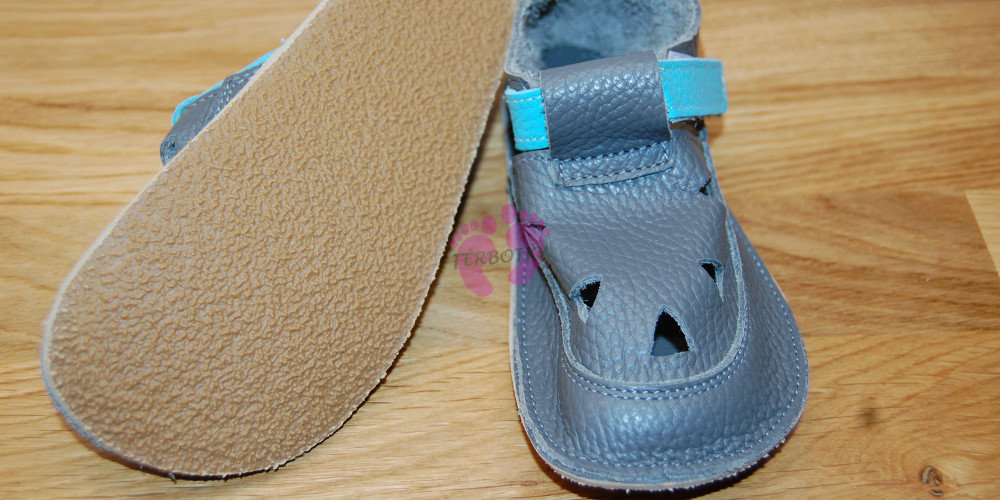 Baby Bare Shoes Blue Beetle Top Stitch podrážka