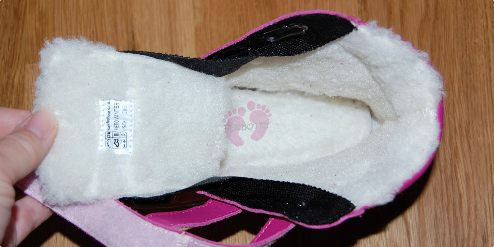 Baby Bare Shoes FEBO WINTER Fuchsia okop, materiál