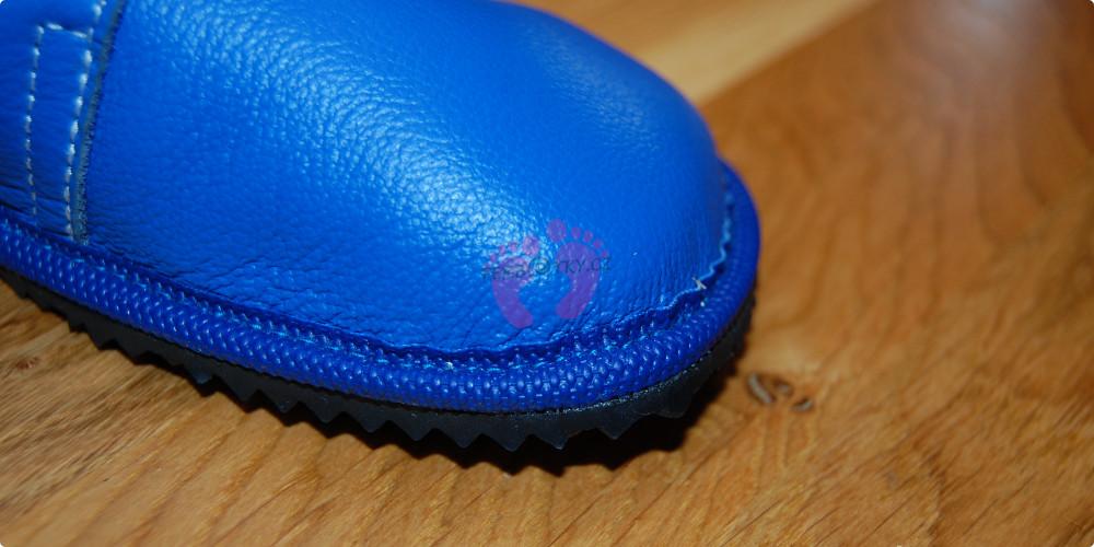 Beda boty barefoot modré kožené detail svršku