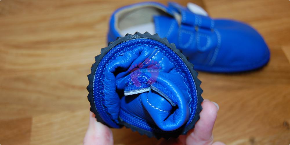 Beda boty barefoot modré kožené lze stočit do ruličky