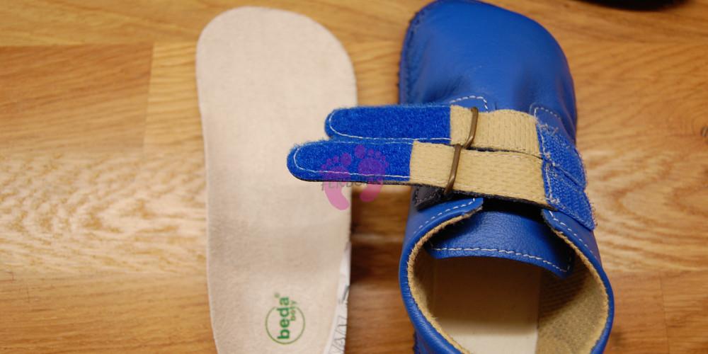 Beda boty barefoot modré kožené suchý zip