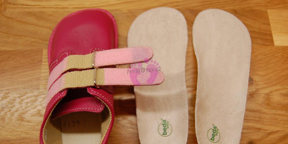 Stélky a zapínání Beda boty barefoot kožené červené