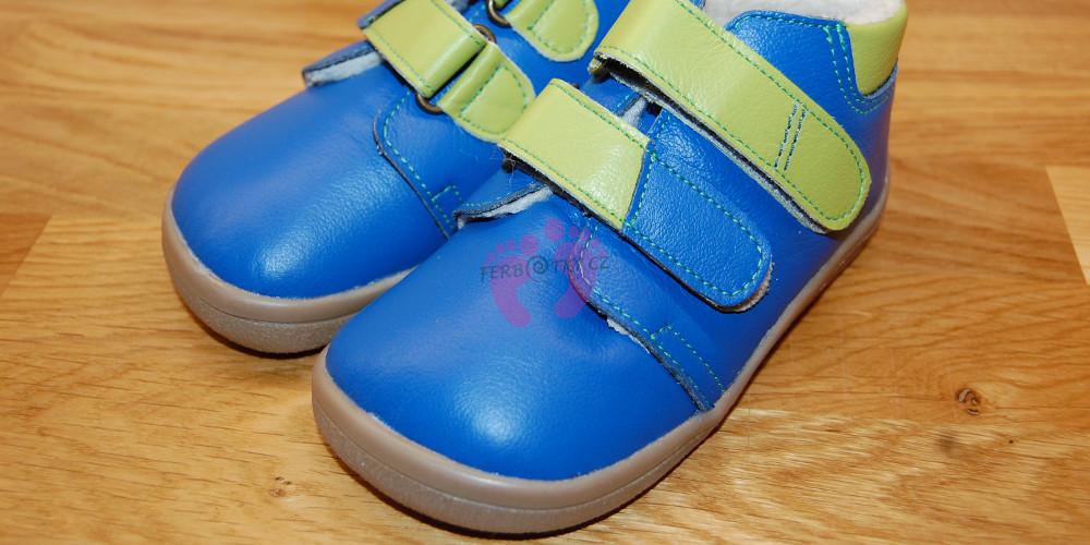 Zimní Beda barefoot modré - material
