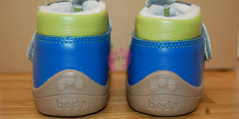 Zimní Beda barefoot modré - paty