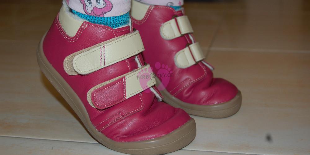 Zimní Beda barefoot růžové - ohebnost