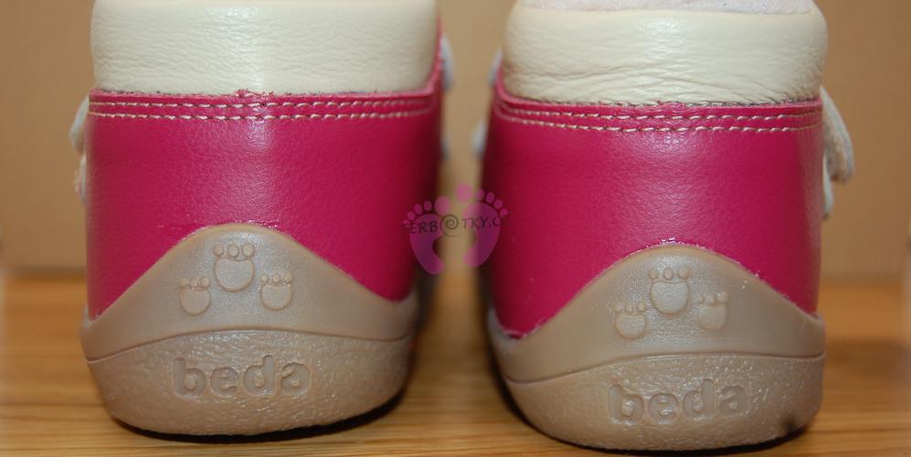 Zimní Beda barefoot růžové - paty