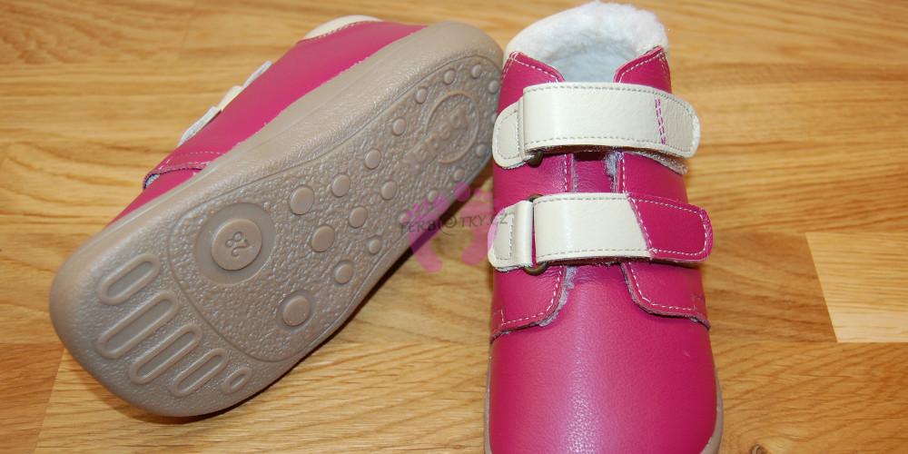 Zimní Beda barefoot růžové - podrážka