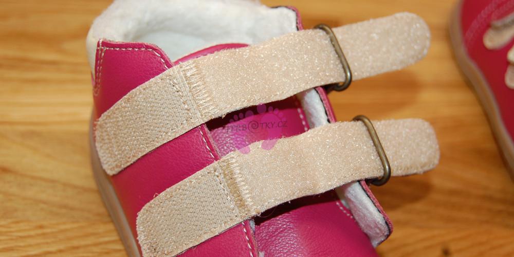 Zimní Beda barefoot růžové - zipy