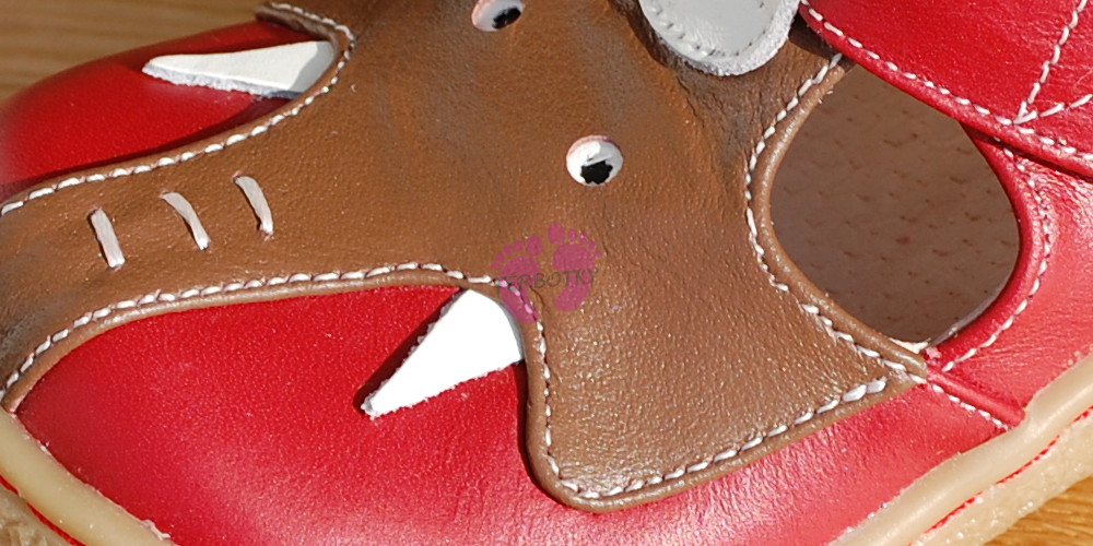 Livie and Luca Elephant Red - Leather detail